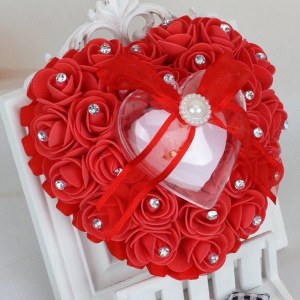 Heart Shape Ring Pillow Cushion With Rose Flowers Bowknot Ribbons Rhinetone Pearls Gift Ring Box For decoration Bridal Wedding Party Favor