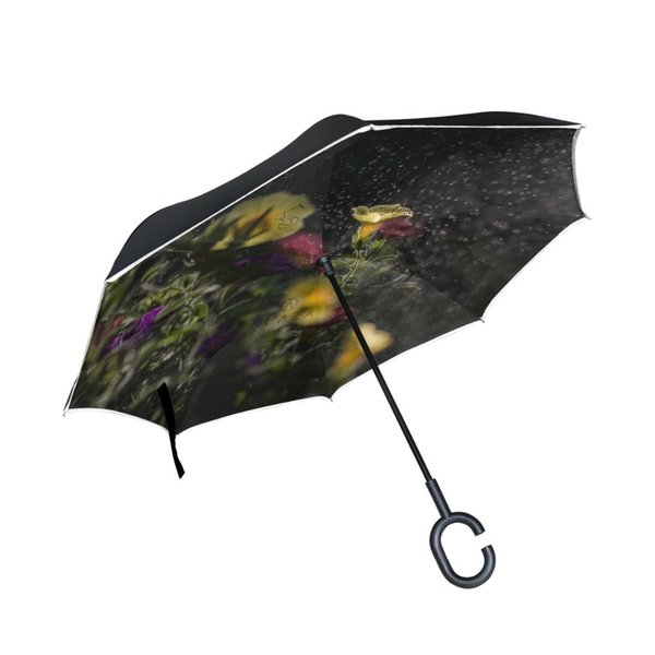 Yellow Flower Printed Reverse Umbrella C-Hook Windproof Reverse umbrella Long Shank Inverted Double Layer Creative Self Stand