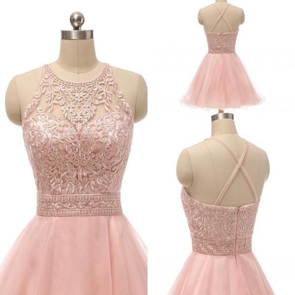 Blush Brevi abiti da ritorno a casa per Junior Halter Lace Appliques Beaded A Line Ruffles Skirt Criss-Cross Back Prom Dress
