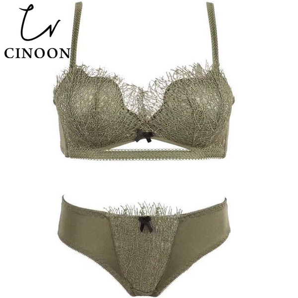 CINOON 2018 New Lingerie Push up Underwear Lace Bra Sets Bow Brassier and Panties Hot Sale Lingerie Set Thin Cup for Women