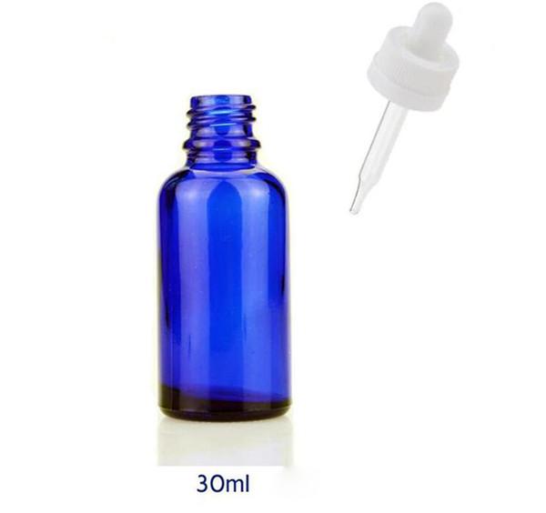 Botellas de gotero de vidrio azul 1OZ frascos de aceite esencial botellas vacías con cuentagotas de vidrio POR DHL gratuito