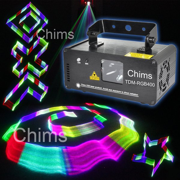 Chims DJ Laser 3D Light Stage Lighting RGB Full Colorful DMX512 Control Scanner Projector Disco Show Home Xmas Music Party 400mW TDM-RGB400