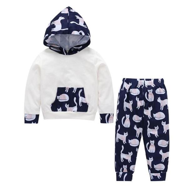 2pcs Cute Baby Girls Clothes Set Cat Print Autumn Kids Hoodies Elastic Pants Tops Outfits Cotton Long Sleeve Girl Boy Clothing