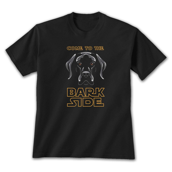Earth Sun Moon Come To The Bark Side - Black T-Shirt, by