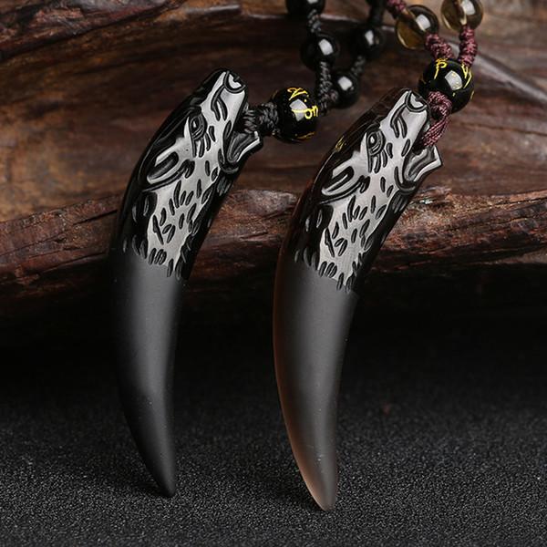 Naturstein Schwarz Und Eis Obsidian Anhänger Halskette Wolf Zahn Amulette Und Talismane Paar Halskette Für Frauen Und Männer