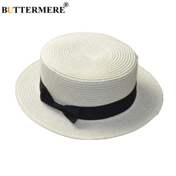 BUTTERMERE Women Panama Hat Boater Straw Sun Hat White Beige Coffee Khaki Bow Classic Vintage Spring Summer Beach