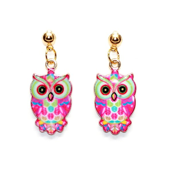 2016 New Arrival Cute Colorful Owl Studs Earrings Long Drop Beads Earring for Women Accessories Summer Style Jewelry