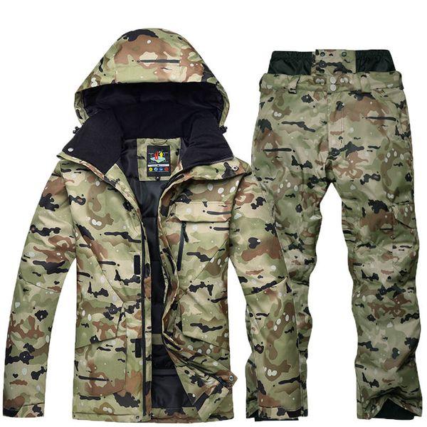 -35 camouflage men ski suit set special snowboarding suit clothes waterproof breathable winter costumes snow jacket + pant thumbnail