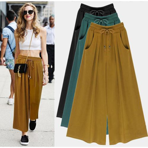 Womens Wide Leg High Elastic Waist Casual Crop Pants Loose Culottes Trousers