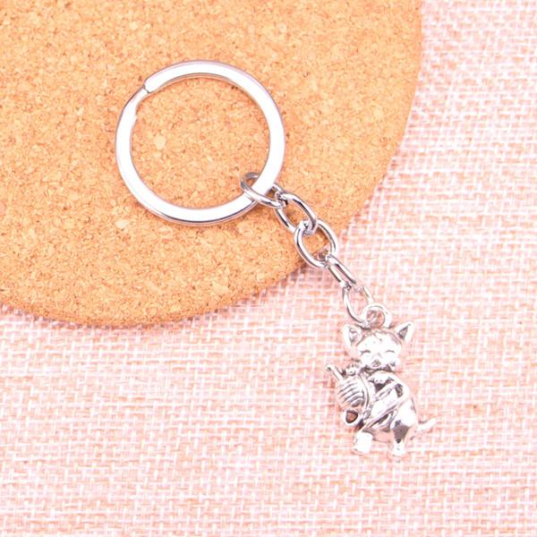 Fashion 28mm Key Ring Metal Key Chain Keychain Jewelry Antique Silver Plated cat yarn ball 25*15mm Pendant