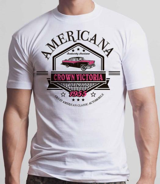 2018 Short Sleeve Cotton T Shirts Man Clothing 1955 Ford Crown Victoria T-Shirt White TeePrint Tee Men Short Sleeve Clothing