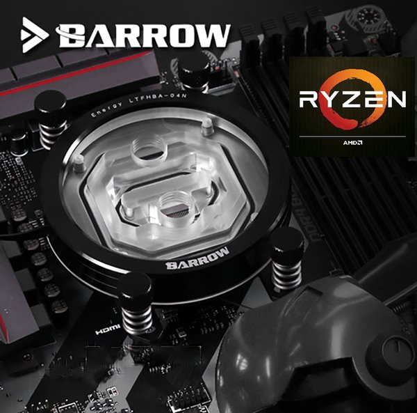 Barrow CPU Water Cooling Block use for AMD Ryzen AM4 AM3 Transparent Acrylic 0.2MM Microcutting Micro Waterway Color Black