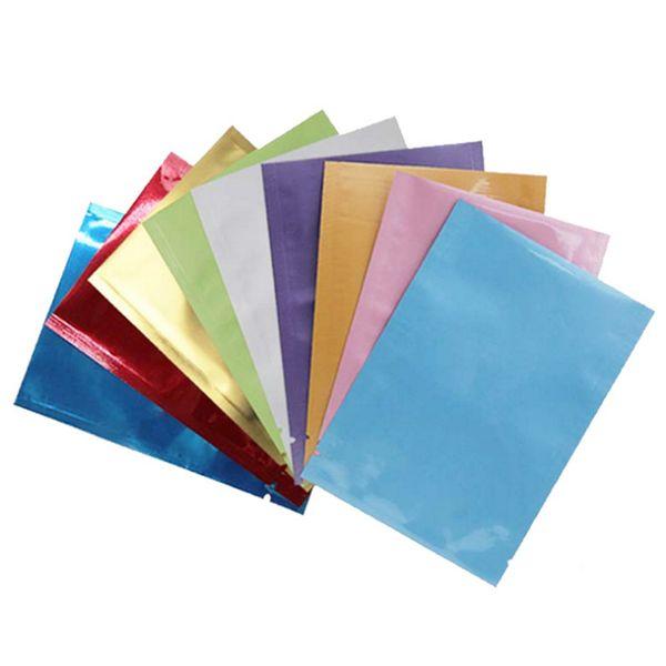 Sellado térmico a color Bolsillo de aluminio Bolsa de papel Mylar Bolsa a prueba de olor abierto Superior Bolsas de embalaje Té de café Muestra cosmética GGA107 1000PCS