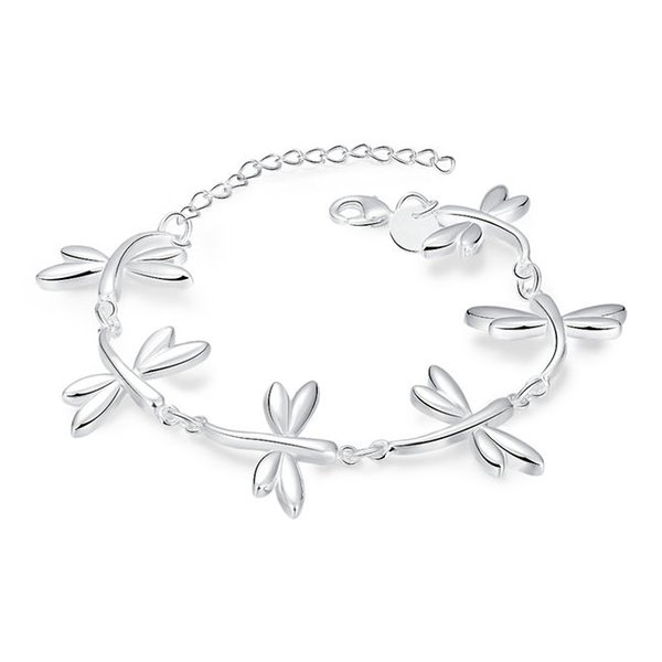 Brand new ! Dragonfly Bracelet sterling silver plated bracelet SPB411 ;high quatity fashion men and women 925 silver Charm Bracelets