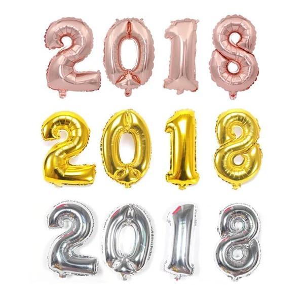 32 pulgadas de oro rosa número de globos digitales de plata globo de aire grande 0-9 globos de papel de aluminio para la decoración de la fiesta de cumpleaños suministros