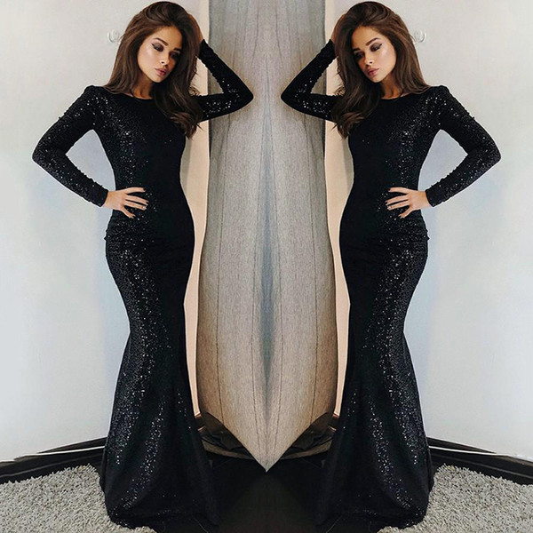 Sparkly Black Seuquined Celebrity Dresses 2018 Long Sleeves Evening Party Wear Gowns Women Formal Dresses Red Carpet Dresses for Ladies