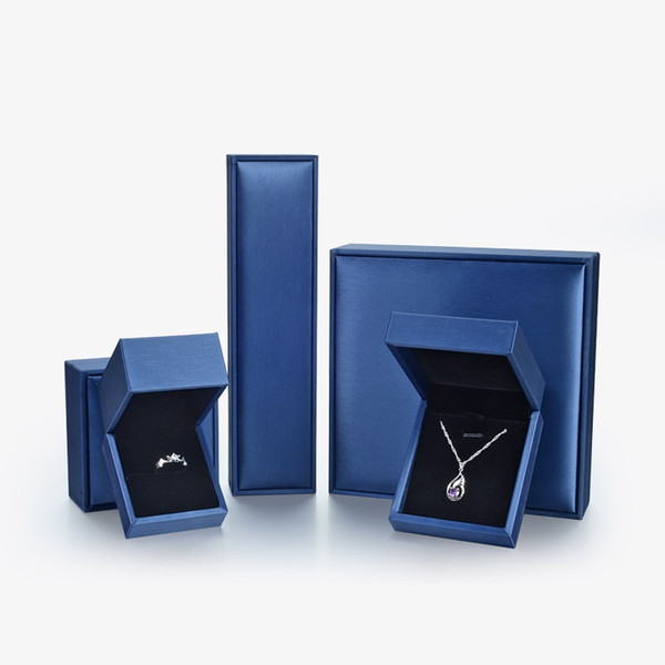 Fashion Brushed Blue Jewelry Packaging Box Luxury Leather Propose Wedding Ring Earrings Bracelet Storage Box Gift Case