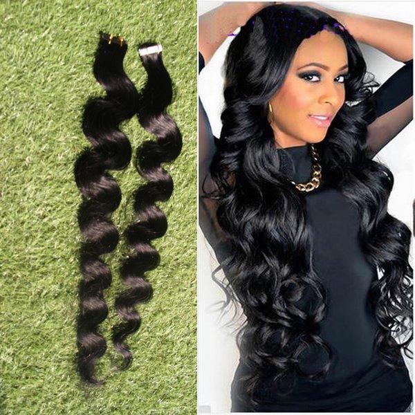 8A 40pcs Applicare nastro adesivo trama della pelle dei capelli 100g nastro estensioni dei capelli dell'onda del corpo nastro di trama brasiliana estensioni dei capelli 14