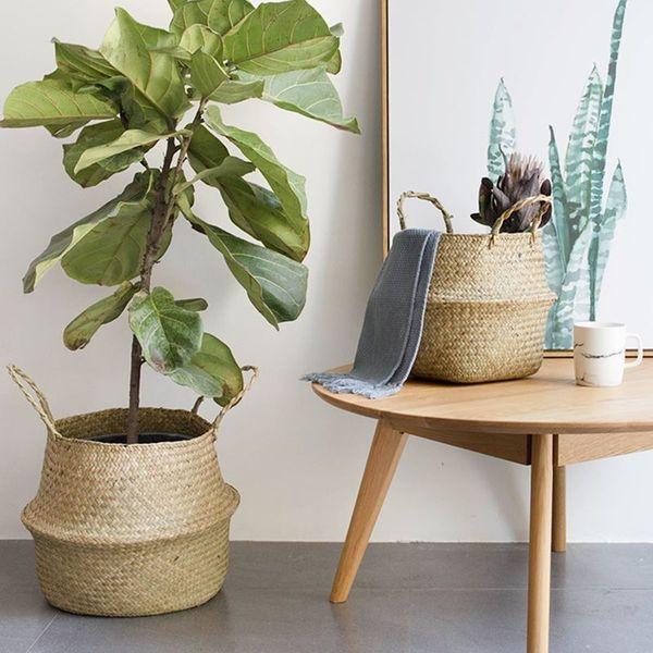 Rattan Plant Flower Pots 2pcs /Set Floor Nursery Pots Bonsai Laundry Storage Basket Organizer Home Balcony Decor Garden Supplies