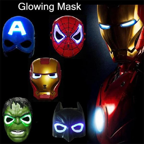 Navidad LED máscara que brilla intensamente máscara del superhéroe de la manera para el adulto del cabrito Avengers marvel spiderman ironman capitán américa hulk batman máscara del partido
