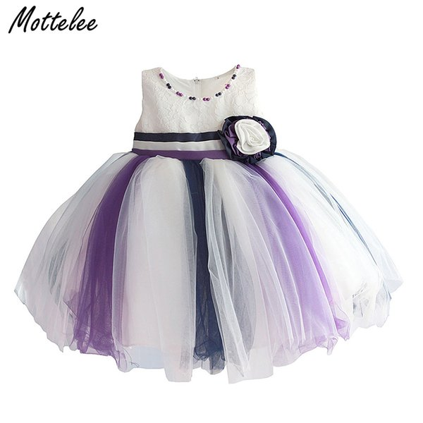 MotteInfant Party Girls Dress Lace Baby Beading Flower Vestidos Formales Princess Baptism Summer Toddler Frocks para 0-2 años