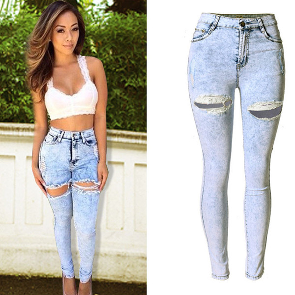 2018 New Brand Jeans Women High Waist Jeans Stretch Zipper Fly Skinny Pencil Pants Casual Fashion Cotton Ripped For Women