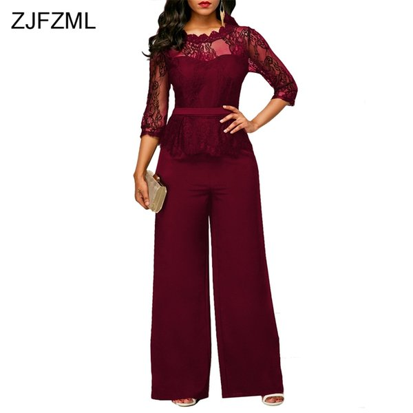 ZJFZML 2017 Lace Crochet Sexy Bandage Jumpsuit Women Three Quarter Sleeve Full Wid Leg Overall Autumn Hollow Out O-Neck Rompers