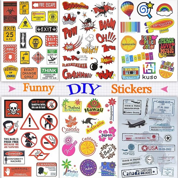 Funny Doodle Stickers Decals Toys for Kids Teens Adults to DIY Home Laptop Tablet Luggage Guitar Scrapbook Skateboard Water Bottle Bicycle
