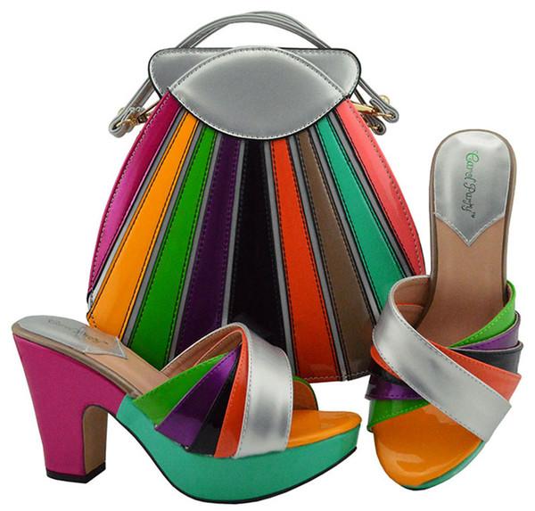 Últimas Mulheres Sapatos Italianos Sapatos de Festa Italiana e Saco Sapatos Italianos com Conjuntos de Sacos de Harmonização Conjuntos de Sapatos e Saco Conjunto Africano MD008