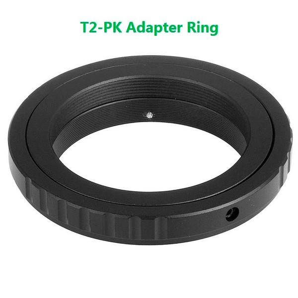 top popular Black Aluminum T-mount T2 Lens Ring Adapter Mount for Pentax Ricoh PK K-5 K-7 K-20D Work With Any Pentax Ricoh PK DSLR SLR 2021