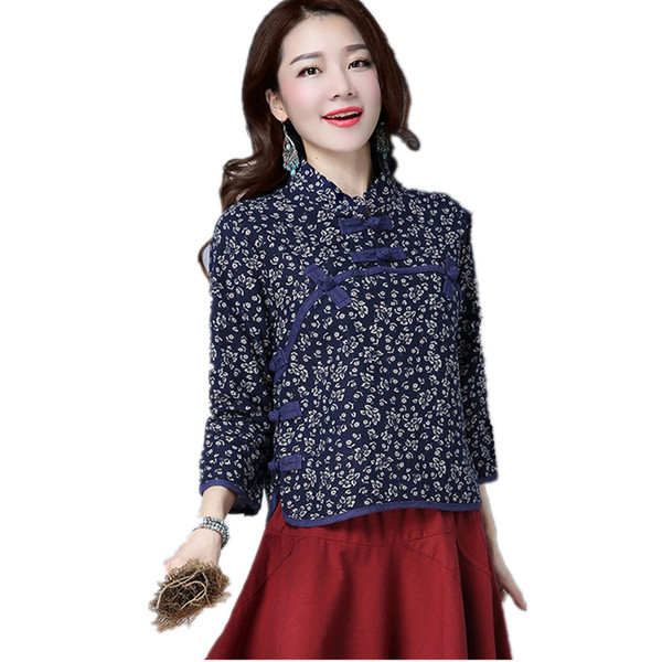 2017 Folk Style Traditional Chinese Tops Women Retro Cotton Linen Printing Floral Tang Suit Female M-2XL