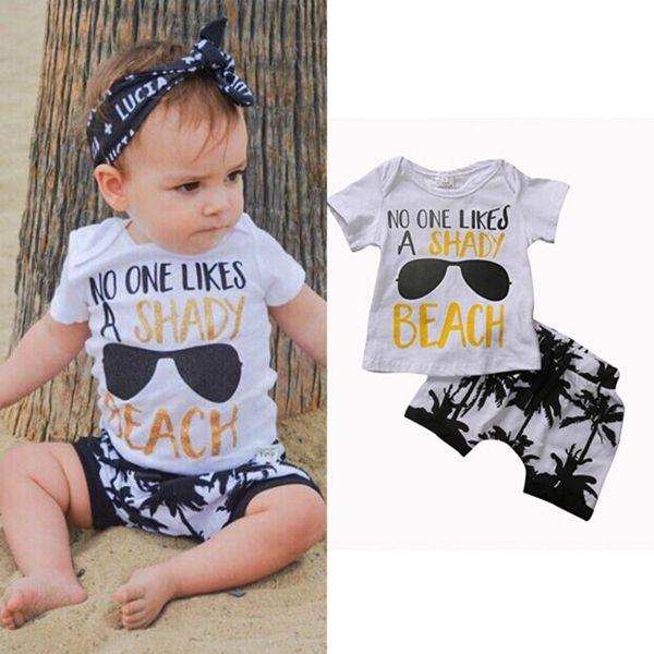 Nueva moda de verano para bebés, niños, niños, niñas, niños, ropa, camiseta superior + árbol pringting pantalones cortos trajes 2pcs / set aptos para niños 0-3T
