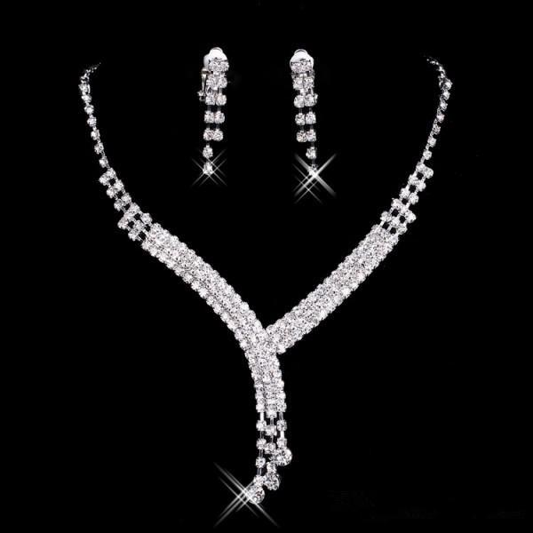 2018 new Rhinestone Bridal Jewelry Sets Earrings Necklace Crystal Bridal Prom Party Pageant Girls Wedding Accessories Free Shipping