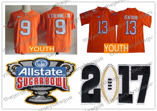 2019 Clemson Tigers Youth 9 Travis Etienne Jr 13 Hunter Renfrow New Orange Stitched Kids Ncaa College Football Jerseys Size S Xl From