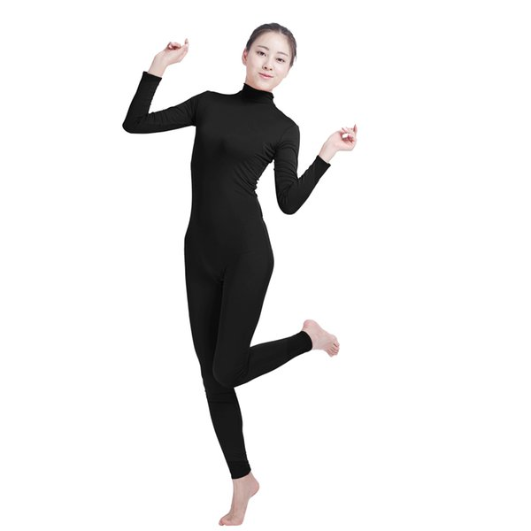 Ensnovo Unisex Cosplay Nylon Spandex Jumpsuits and Rompers Lycra Bodysuit Turtleneck Spandex Long Sleeve Suit Footless Unitard