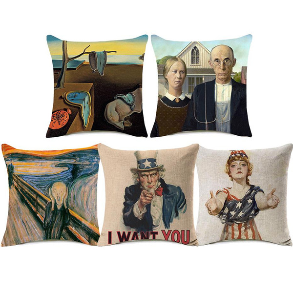 American Gothic Uncle Sam Cushion Covers The Scream The Water-Lily Pond Painting Cushion Cover Decorative Linen Cotton Pillow Case