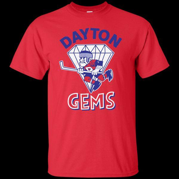 Dayton Gems Retro Hockey 1970's 1980's Jersey Logo Support Dropship T-Shirt T Shirt Men Man's XL-3XL Custom Short Sleeve Boyfriend's 3XL T S