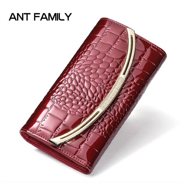 Women Genuine Leather Wallet Ladies Fashion Patent Leather Wallets Coin Purse Female Clutch 3 Fold Cowhide Wallet Flip Cover Wallet