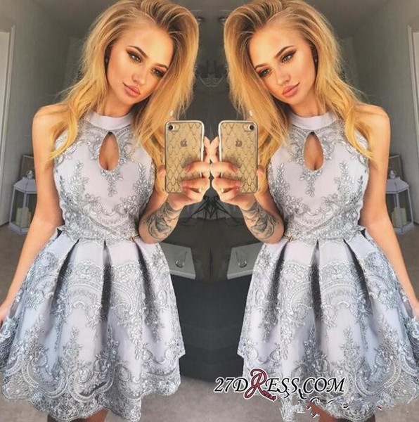 Halter Keyhole 2018 Homecoming Dress Lace Appliques Sleeveless Sexy Short Dress Party Wear Prom Dress A Line Plus Size Evening Gowns