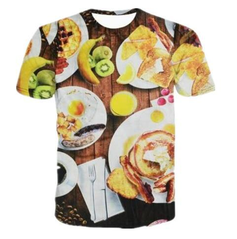 Newest Men/Women 3D Hamburger with Cheese & Fruits Food Print Graphic T Shirts Short Sleeve Comfortable Clothing Hiop Hop Tops Tees