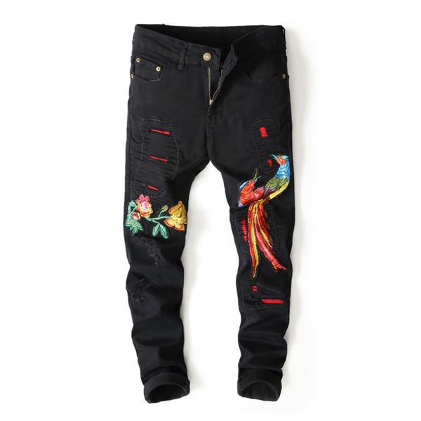 2018 Broderie Animal Jeans Hommes Mendiant Denim Jeans Pour Hommes Slim Moto Biker Designer Slim Pantalon Homme