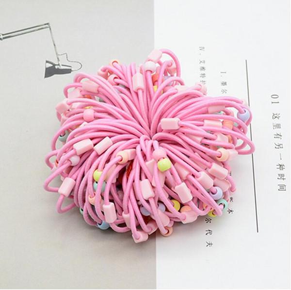 100 UNIDS 3 CM Niño Bebé Niños Rosa Azul Colorido Cuentas Banda de Pelo Titulares de Ponytail Accesorios Para el Cabello Para Chica Goma de Cuerda de Goma elástica