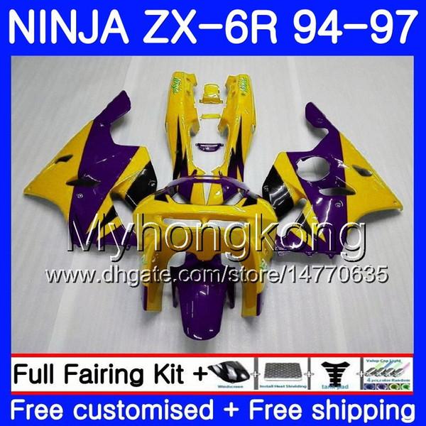 Bodys Yellow purple hot Pour KAWASAKI NINJA ZX 636 600CC ZX 6R 1994 1995 1996 1997 213HM.29 ZX600 ZX636 ZX-6R 94 97 ZX6R 94 95 96 97 Carénage
