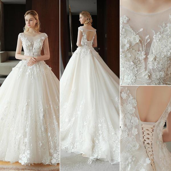2019 Nouveau designer arabe robe de mariée robes de mariée, plus la taille modeste pure cou broderie 3D fleurs dentelle tulle corset robes de mariée