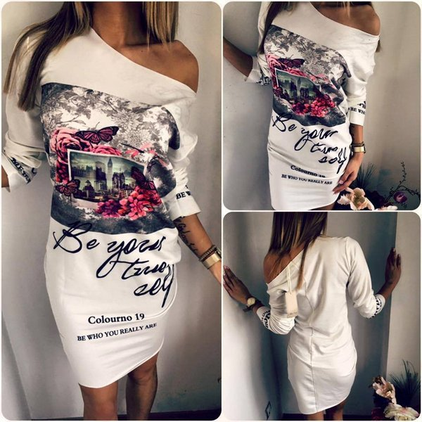 Cheap Women Dresses Printing White Cotton Long Sleeves One Shoulder Sexy Casual Dress Women Long T Shirt High Quality 2018 Plus size S--5XL