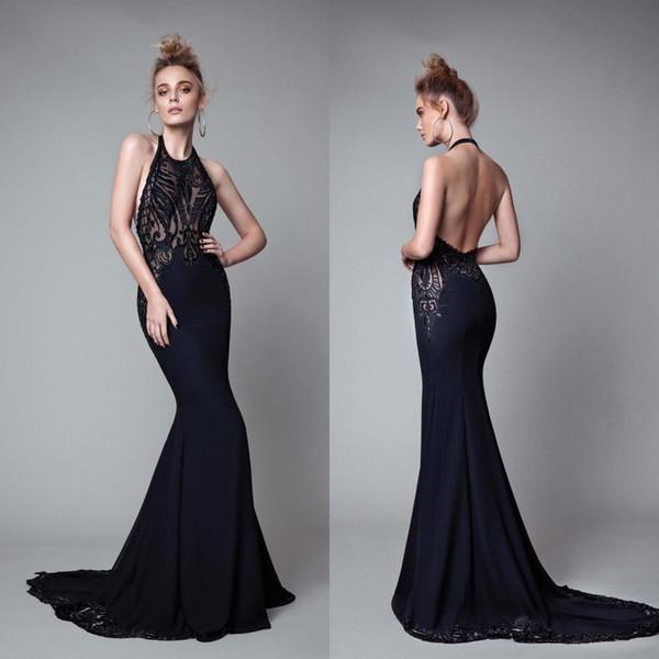 Großhandel Sexy Black Mermaid Prom Kleider 2018 Berta Sheer Spitze ...
