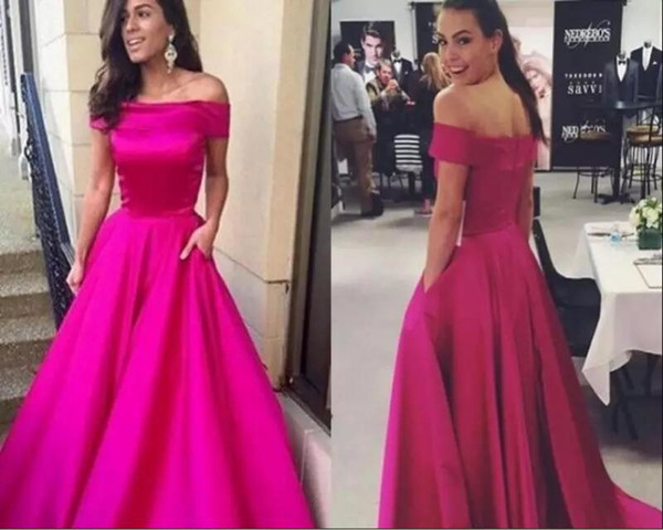 New Fuchsia Cheap Prom Dresses 2018 Off Shoulder boat neck A Line Modest Arabic marsala Evening Party gown Special occasion