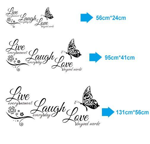 Free shipping ive Laugh Love Butterfly Flower Wall Art Sticker Modern Wall Decals Quotes Vinyls Stickers Wall Stickers Home Decor Living Roo