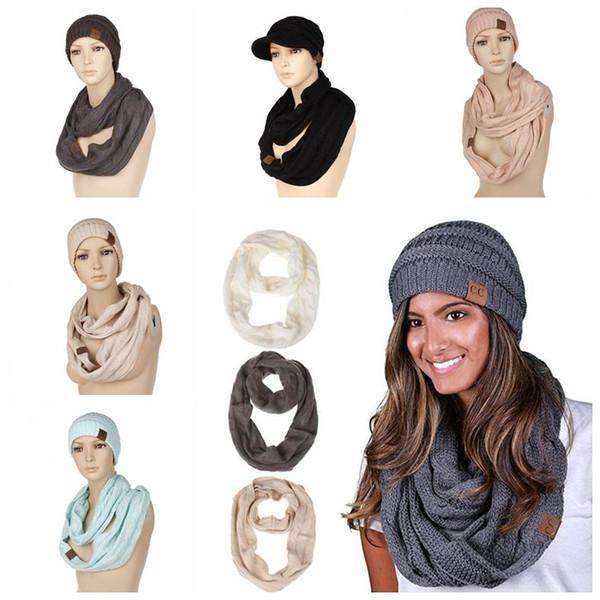 Compre es Cc Sombrero Bufandas Conjuntos Cc Woollen Beanie Hats ...