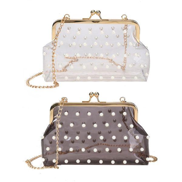 top popular Women Wedding Shoulder Crossbody Bag Purse Transparent Evening Prom Chain Wallet High Quality Evening bag 2019